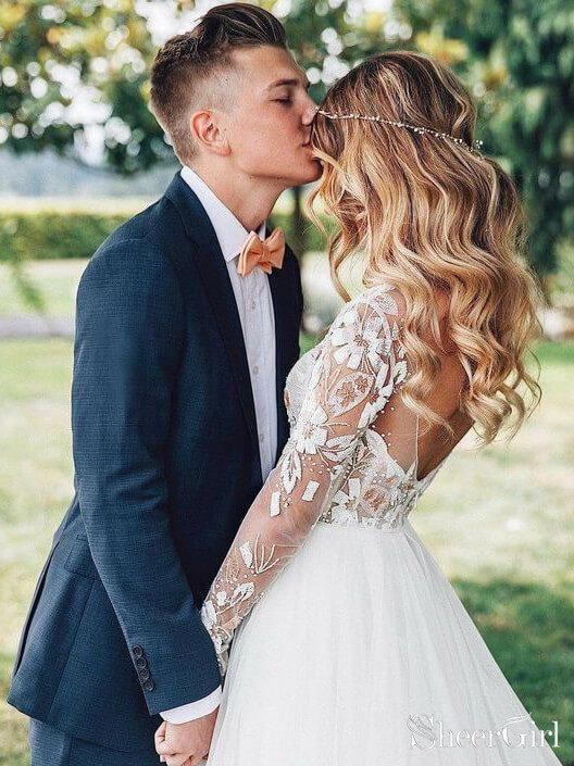Long Sleeve Beaded Floral Lace See Through Boho Wedding Dresses AWD1267