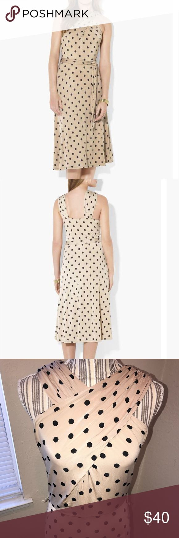 "Lauren by Ralph Lauren Polka Dot Cross Over Dress A flirty polka dot pattern punctuates the modern crisscross neckline and flared skirt of a smooth jersey halter dress. Slips on over head. Approx. length from top center front to hem: 42"". Fully lined. Polyester/elastane; machine wash. By Lauren Ralph Lauren; imported. Dresses. Item #530346  ❌Missing Belt❌ Size: 10 Lauren Ralph Lauren Dresses Midi"