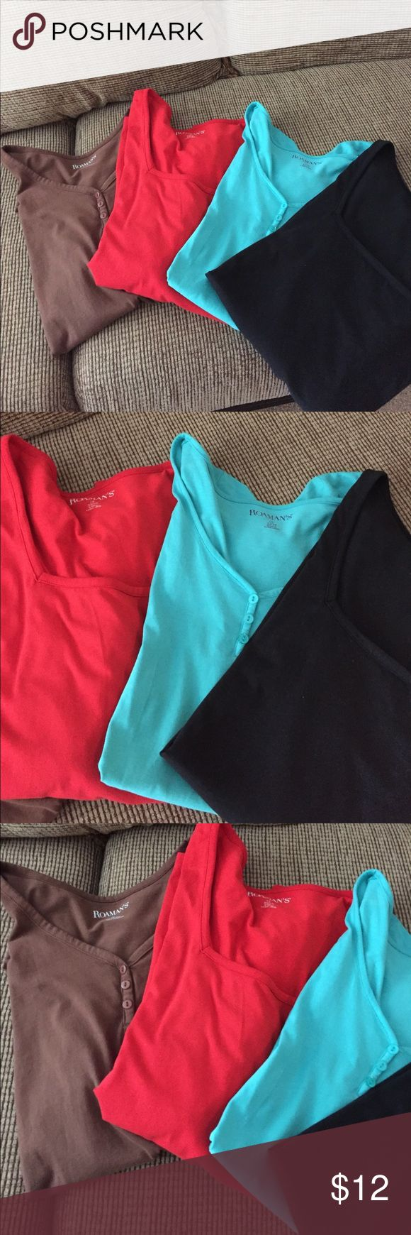 Woman's plus size assort. Short sleeve tops All 5 for $13. Assorted woman's tee shirts in excellent condition. Some have square neckline, som are 3 button Henley. Turquoise, black, red, brown, royal and navy. Great colours to go with everything NOW 5 for $12 Roaman's Tops Tees - Short Sleeve