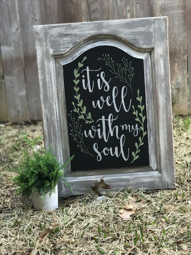 "Cabinet door repurposed ""it is well with my soul"""