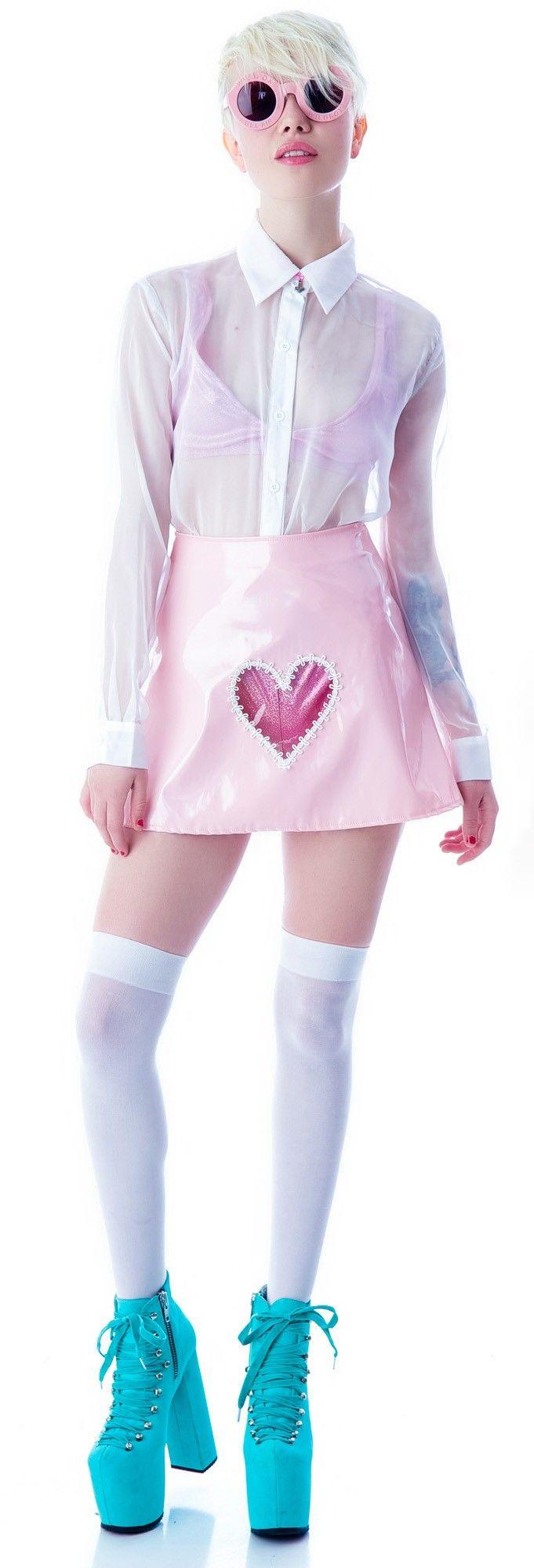 Jeannie Nitro Clear Heart Vinyl Skirt | Dolls Kill