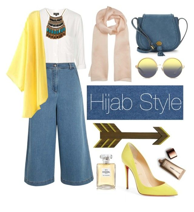 """hijab"" by rabiasemx on Polyvore featuring Christian Louboutin, Nanette Lepore, Topshop, Fendi, Leslie Danzis, Paule Ka, Matthew Williamson, Chanel and Nude by Nature"