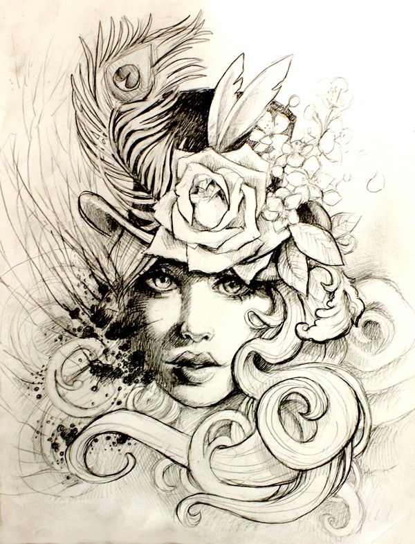 Victorian, Steampunk style woman tattoo flash with peacock feather, roses, top hat, art nouveau flow, swirls..lovely!