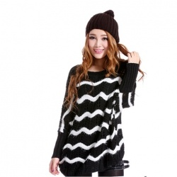 $12.05 New Style Scoop Neck Openwork Stripes Dolman Sleeves Plus Size Artificial Fibre Cardigan For Women