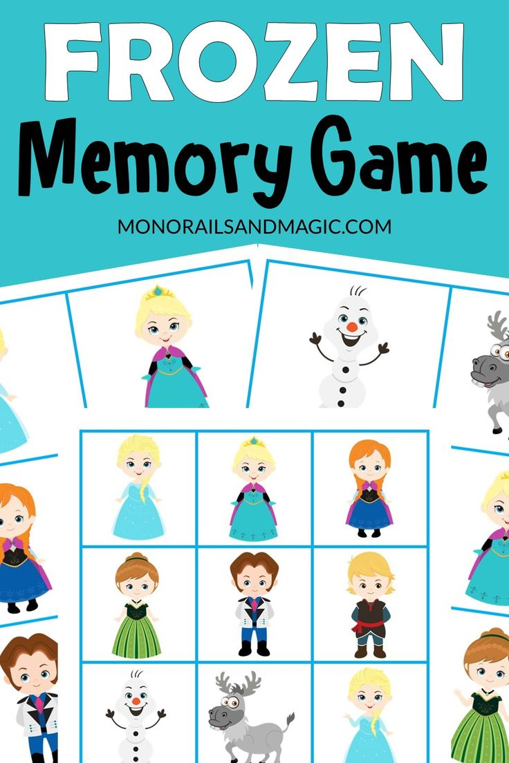 Frozen memory game free printable in 2020 memory games