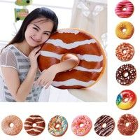 Ultra soft & cuddly! Design is on both sides of doughnut Small zip section for re-stuffing Various d
