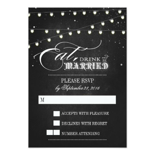Lights Eat, Drink And Be Married Wedding RSVP Card