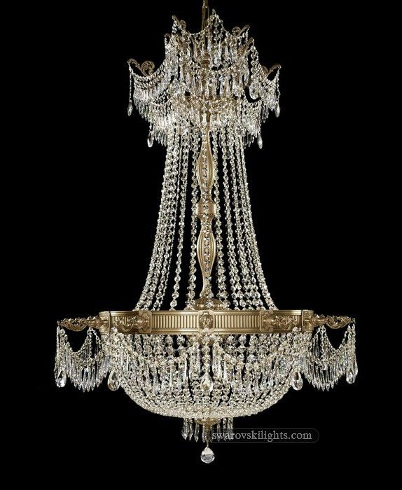 12 Lights Brass Crystal Chandelier In Polished Cinnamon Finish