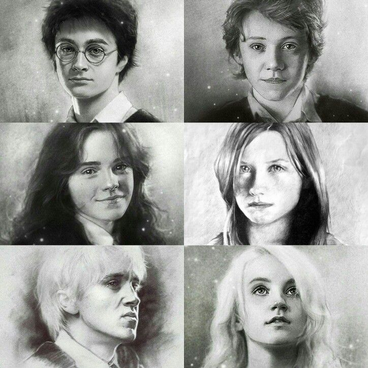 Harry Ron Hermione Ginny Draco And Luna Fan Art Harry