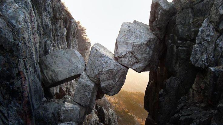 Mount Tai, Shandong--The Immortal Bridge, a unique, perfectly balanced natural bridge.