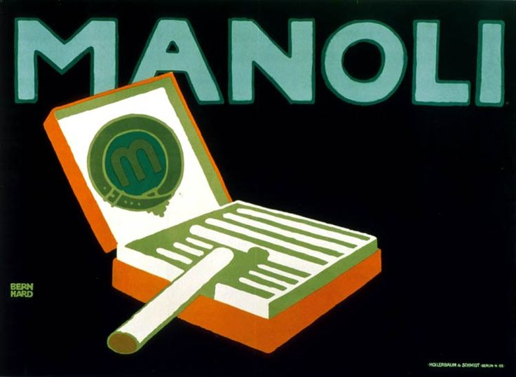 """Lucian Bernhard : Manoli advertising poster. """"You see with your eyes, not your brain""""  -via Design Is History: Lucian Bernhard, Vintage Poster, Lucianbernhard, Graphicdesign, Graphics Design, Manoli, Beautiful Poster, Lucien Bernhard, I Noticed A Poster"""