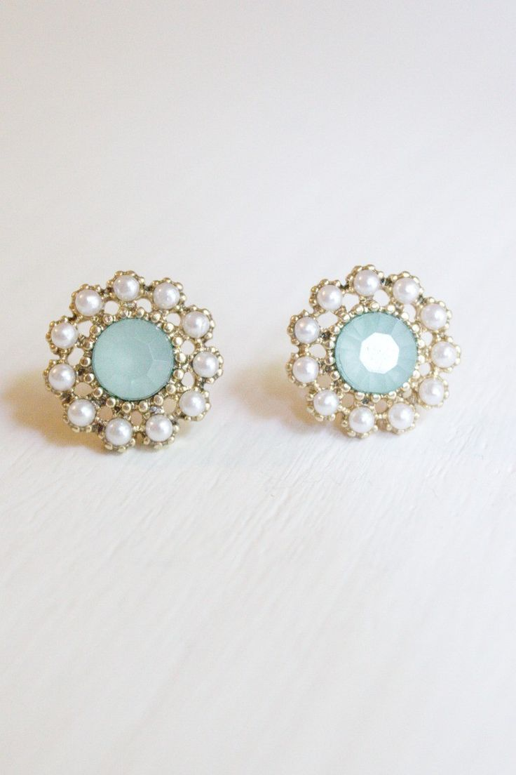 Stone and Pearl Post Earrings in Mint Blue