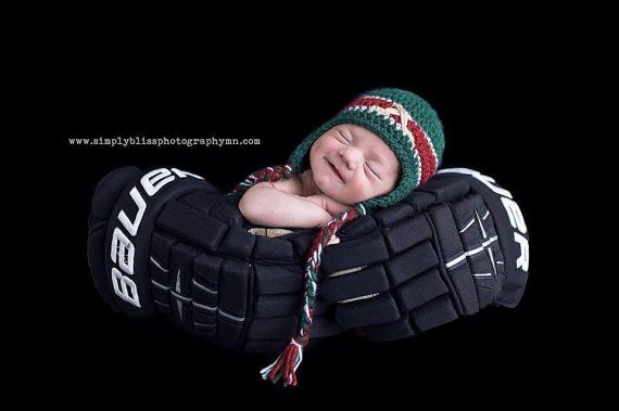 Striped Earflap Hockey Team Baby Hat Custom by CominUnraveled