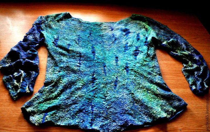 Валяем двусторонний свитер в технике «нунофелтинг»: ажурные фактуры, замшевый эффект и минимум шелка - Ярмарка Мастеров - ручная работа, handmade