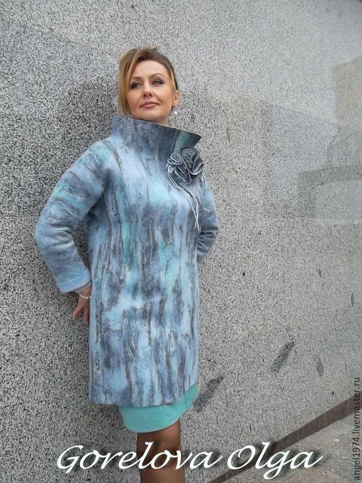 """Купить валяное пальто """"Одри"""" - бирюзовый, пальто, валяное пальто, пальто валяное"""