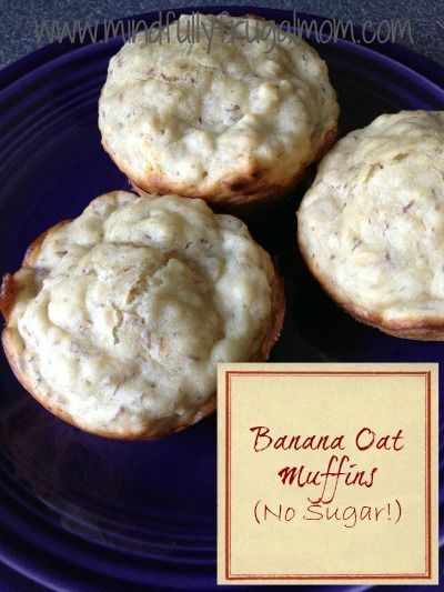 Banana Oat Muffins Recipe - Easy, Quick, Sugar Free, and Egg Free! via @Sarah White {Mindfully Frugal Mom}