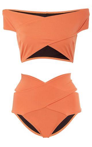 This **Oye** Lucette Banded Bikini Set features an off the shoulder neckline, allover cutouts, and a two piece construction. Beach Fashion, Cute Bikini, Sexy Bikini