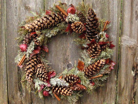 Natural Christmas Wreath -Rustic Winter Ruby- Pomegranate, Cinnamon, Lichen, Maple, Evergreen Branches & Pine Cones