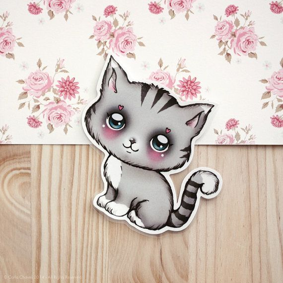 Grey Kitty Kitty wants to make you smile ^_^!    Heres a cute magnet for your fridge (you can also stick it on a wall, etc...).    Measures: