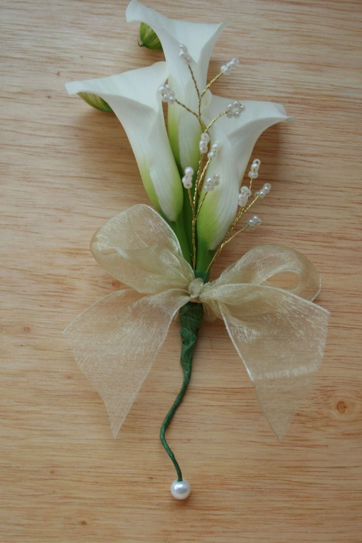 Cala lily and pearl corsage - from The Stockbridge Flower Company, Edinburgh.