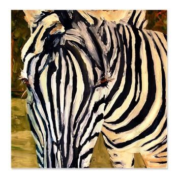 Zebra Bathroom Shower Curtain    Add artistic flair to your bathroom decor with oversized art of a graphic black and white zebra shower curtain. Painting by Miriam Schulman.