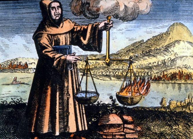 """Las recetas del franciscano y """"El nombre de la rosa"""" (y 3) - Cuaderno de Cultura Científica  Roger Bacon alquimista, tal y como se le representa en """"Symbola aureae mensae duodecim nationum"""" (1617) de Michael Maier"""