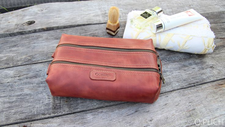 Waxed Leather men's toiletry bag / Cognac leather dopp Kit / Groomsman Gift / Toiletry Kit  /  Wedding Gift / Free  Personalization by OplichLeatherGoods on Etsy