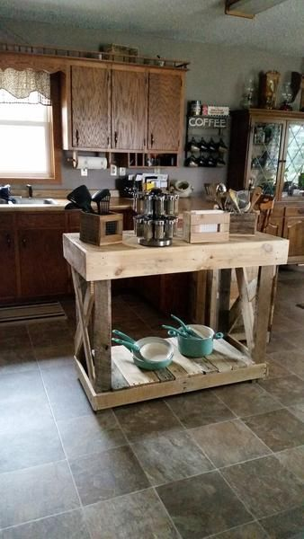 Custom made kitchen island. Some assembly required. Dimensions are about 43Lx36Hx24D but can be made to fit your needs. **All items are one of a kind creations