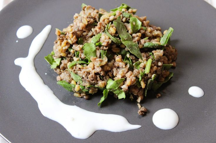 Ancient Grain Salad with spinach, fresh herbs, and a lemony-garlic dressing!