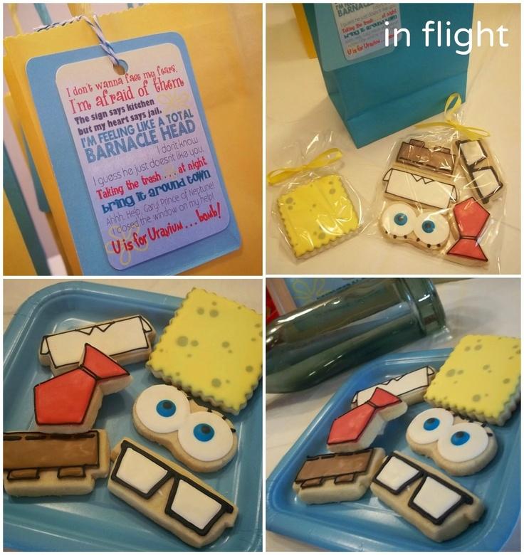 In Flight: Spongebob De - Constructed   Favor Cookies for Spongebob Party by Bee's Knees Creative. Subway Art Tags for Spongebob Party by Eye Candy Event Details.