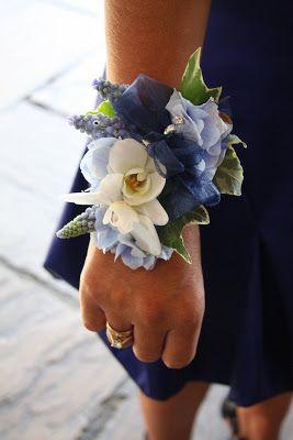 Flower Design Buttonhole & Corsage Blog: Blue & Ivory Wrist Corsage