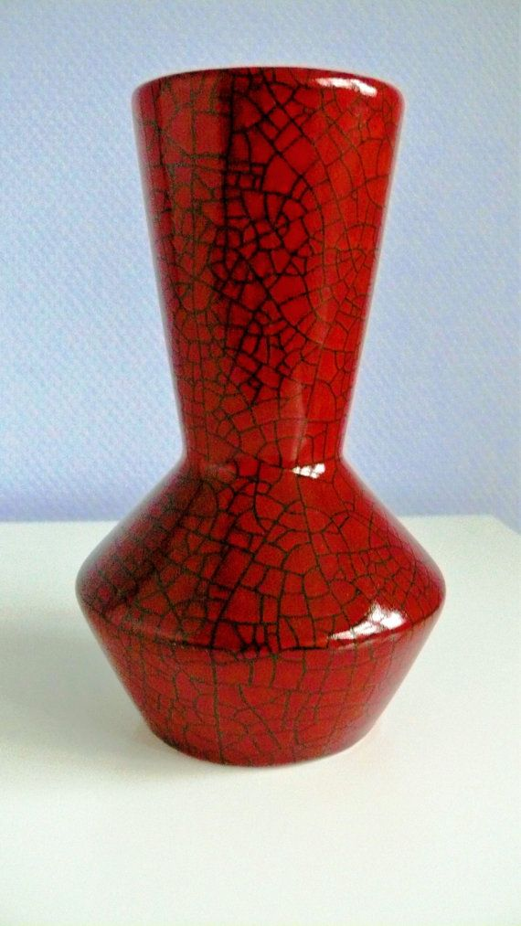 Vintage Retro Big Dark Red Glazed Pottery Vase from Hungary from 1970s