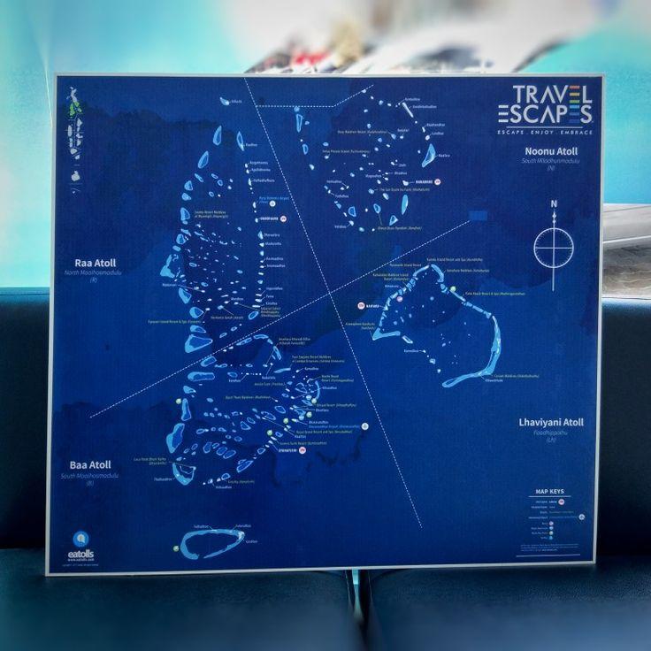 Eatolls print map lhaviyaniatoll BaaAtoll raaatoll noonuatoll