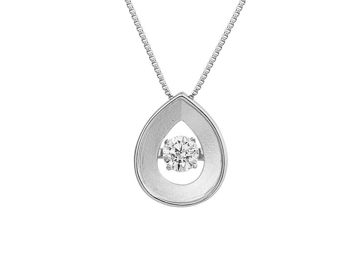 A Minimalist 18ct White Gold and Diamond Pendant
