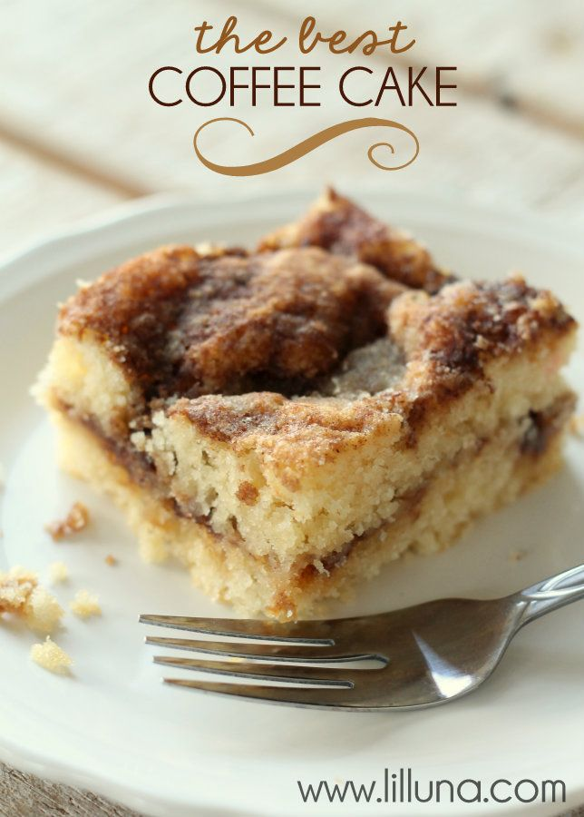 The BEST and EASIEST Coffee Cake Recipe! For my family, this would only be a special occasion recipe...nothing healthy in this one, but looks so good!