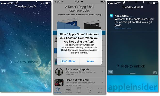 Apple's iOS 8 uses iBeacon tech to bring location-aware app access to lock screen