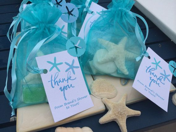 These beautiful soap favors capture the essence of a day on the beach and the treasures of the ocean. Each sachet contains a large starfish,