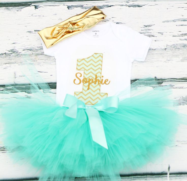 Baby girl mint green gold first birthday cake smash onesie with tutu baby girl one year outfit with gold tie headband add bubblegum necklace by LoveAndLollipopsBaby on Etsy