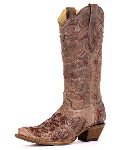 Women's Tabacco With Chocolate Caiman Inlay Boot