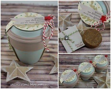 Vasetto decorato con terra e semi come idea regalo o bomboniera