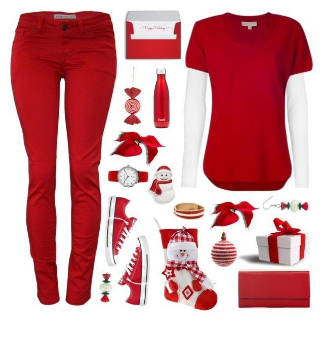 """""""red& white ts"""" by tinkertot ❤ liked on Polyvore featuring MICHAEL Michael Kors, Converse, BillyTheTree, Decoris and S'well"""