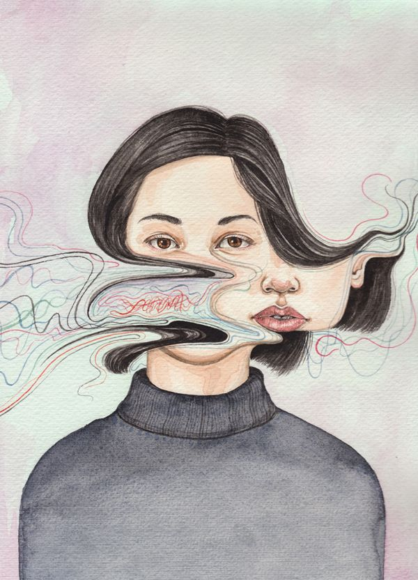 Displacement - New Zealand illustrator Henrietta Harris is a skilled watercolor artist. This series of portraits expresses everyday sensory interference by way of delicate pastel brushstrokes and distorted imagery.
