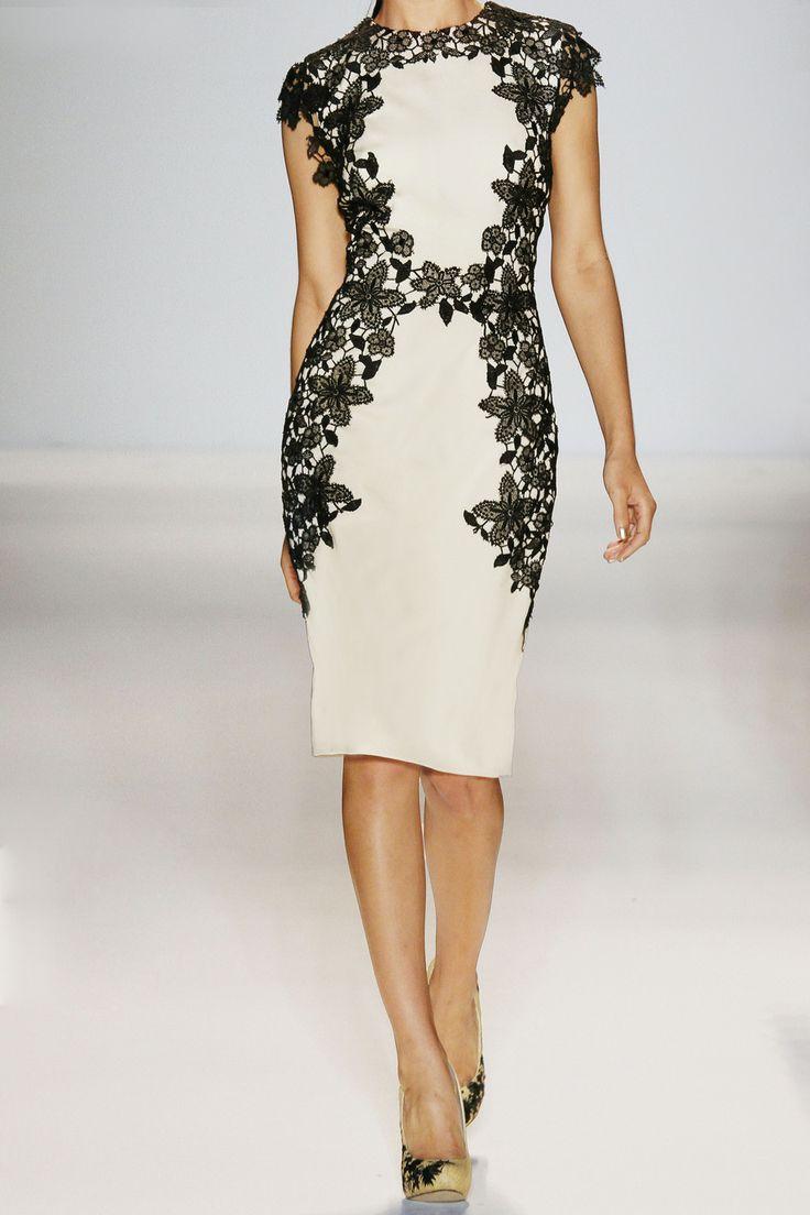 Lela Roselace-trimmed stretch-sateen sheath dress