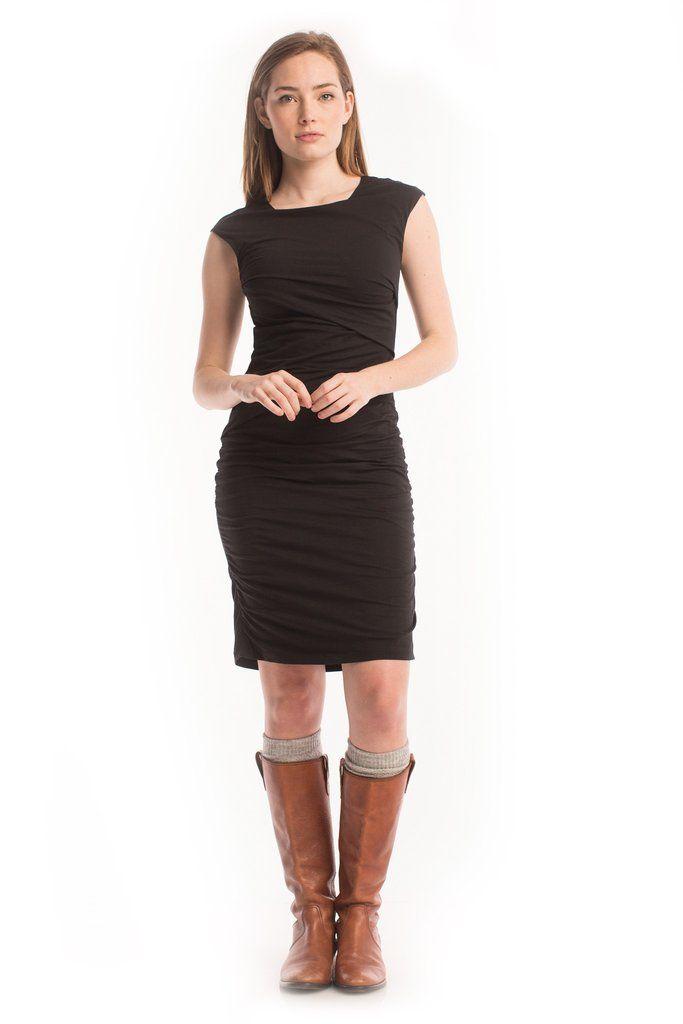 Column Dress in Black - Synergy Organic Clothing