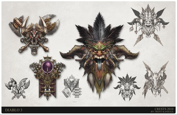 Diablo 3 crest designs Barbarian, Witch Doctor, Mage, Trent Kaniuga on ArtStation at http://www.artstation.com/artwork/diablo-3-crest-designs-barbarian-witch-doctor-mage