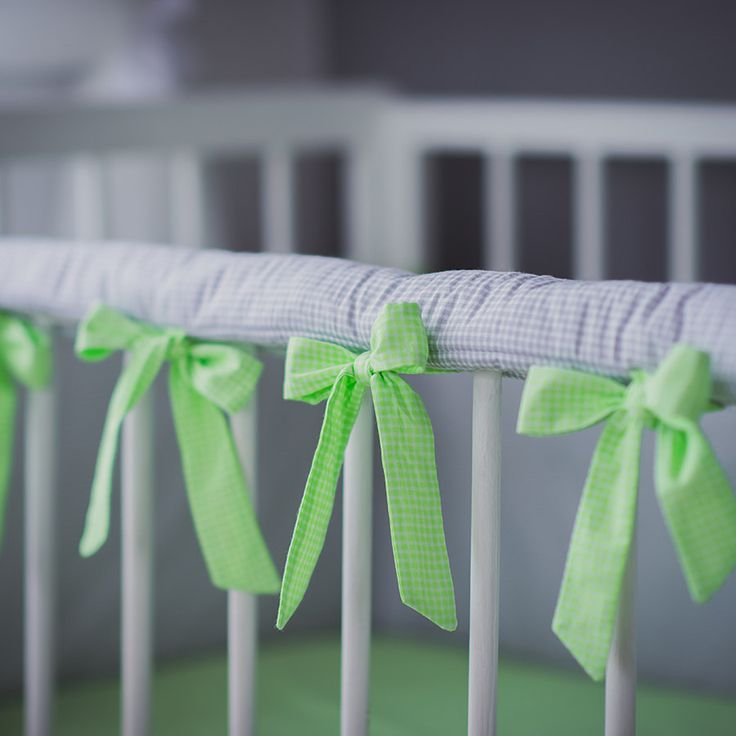 Crib rail cover Teething guard - Custom size color gray with pink green yellow or white laces by CotandCot on Etsy