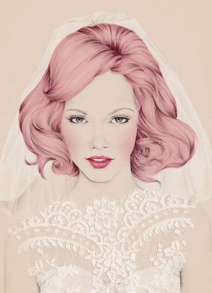 Hitched Magazine cover by Emma Leonard. I want a copy of this mag just based on the gorgeous cover! I'm partial to pink-haired brides, you know.