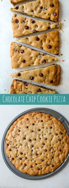 Easy and quick homemade recipe for chocolate chip cookie pizza! Makes a giant cookie pizza perfect for sharing. Recipe on sallysbakingaddiction.com