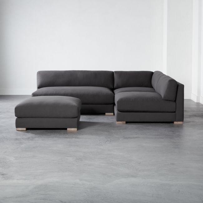 Piazza Dark Grey 4 Piece Modular Single Apartment Sofa Sectional