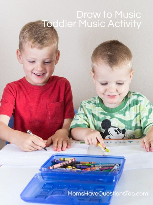 Fun Preschool Music Activity - Draw or paint to music! Encourages listening skills and makes great art work! www.momshavequestionstoo.com